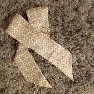 100% silk Coach cream scarf/necktie/purse scarf